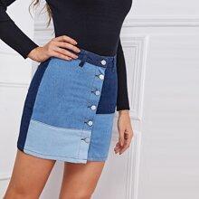 Button Front Color Block Denim Skirt