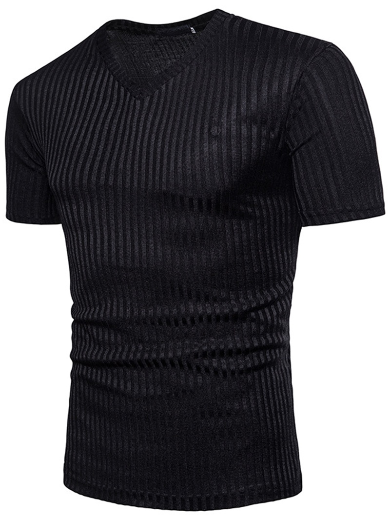 Ericdress V-Neck Plain Stripe Mens Summer T Shirt