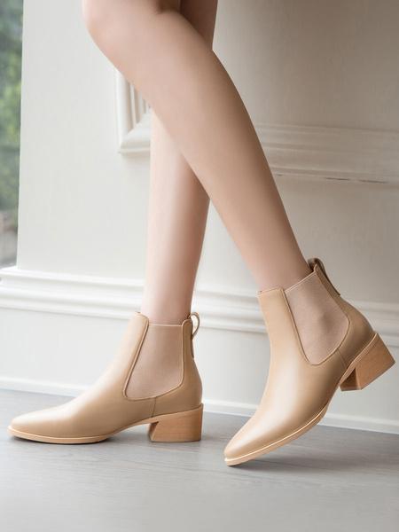 Milanoo Women Chelsea Boots Ankle Boots Cowhide Leather Block Heel Booties