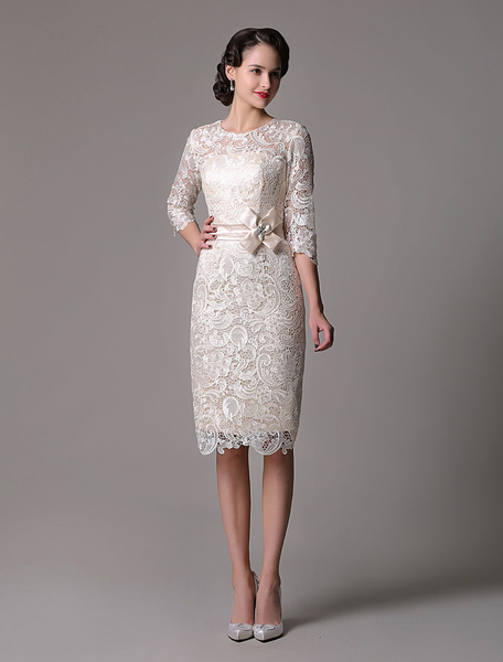 Milanoo Wedding Guest Dresses Lace Sheath Champagne Cocktail Dress Knee Length Half Sleeves Mother Dress With Satin Belt
