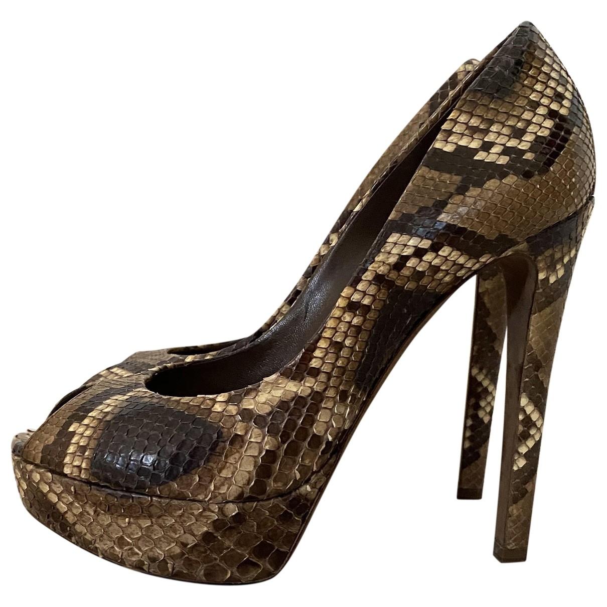 Dior Miss Dior Peep Toes Pumps in  Braun Python