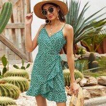Kleid mit Raffungsaum, Wickel Design, seitlichem Band und Bluemchen Muster