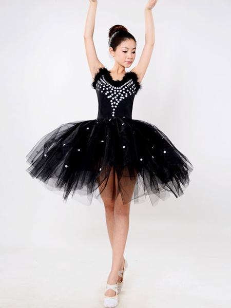 Milanoo Black Ballet Dress Beading Tutu Dress Faux Fur Camisole Party Dresses