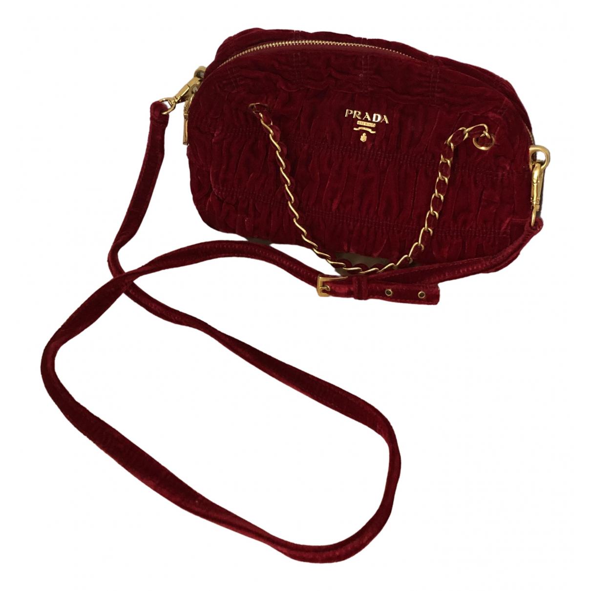 Prada - Sac a main   pour femme en velours - rouge