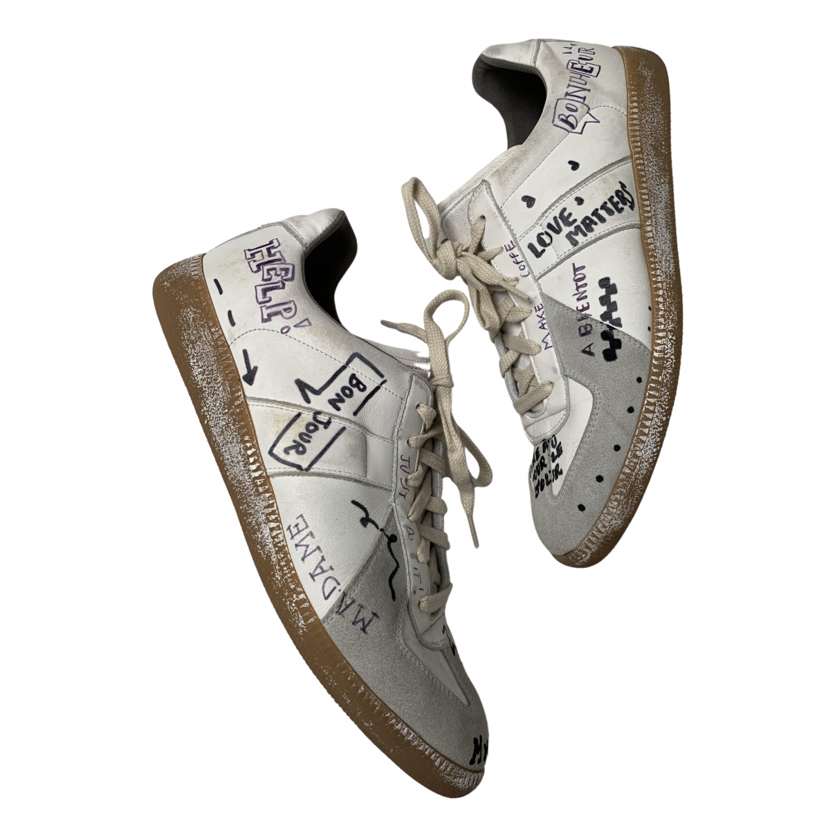 Maison Martin Margiela Replica Sneakers in  Weiss Leder