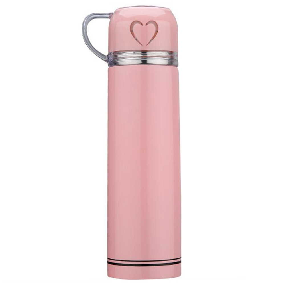 Fashion 500ml Stainless Steel Vacuum Cup Love Travel Mug Transparent Cover - Pink
