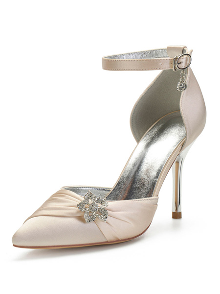 Milanoo Wedding Shoes Satin Champagne Pointed Toe Flowers Stiletto Heel Ankle Strap Bridal Shoes