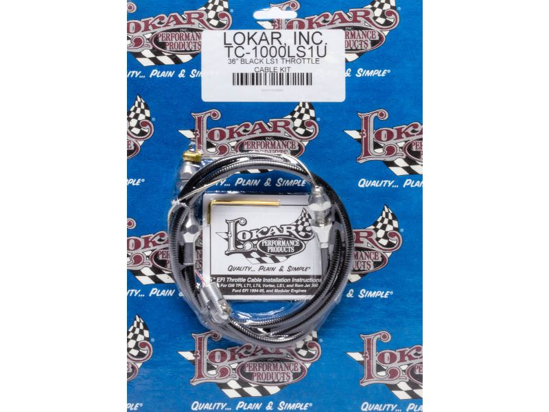 Lokar TC-1000LS1U 3ft Hi-Tech Throttle Cable (Braided Stainless Housing) GM LS-Series