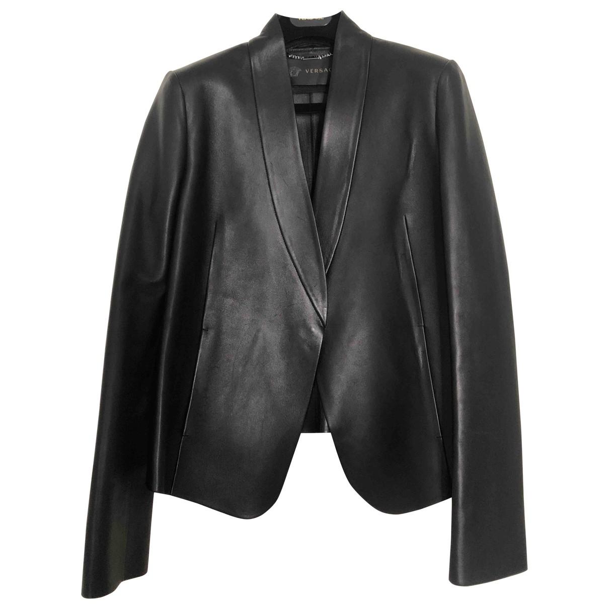 Versace - Veste   pour femme en cuir - noir