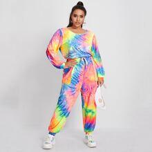 Mono de pijama de tie dye con bolsillo con parche