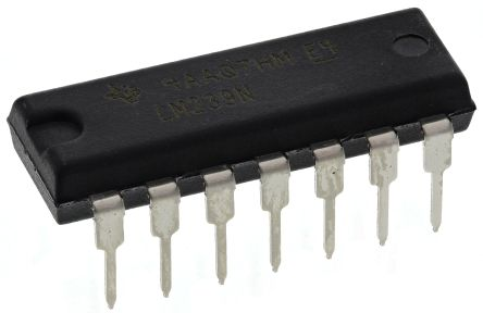 Texas Instruments LM239N , Quad Comparator, Open Collector O/P, 1.3μs 3 → 28 V 14-Pin PDIP (25)