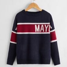 Boys Letter and Colorblock Sweater