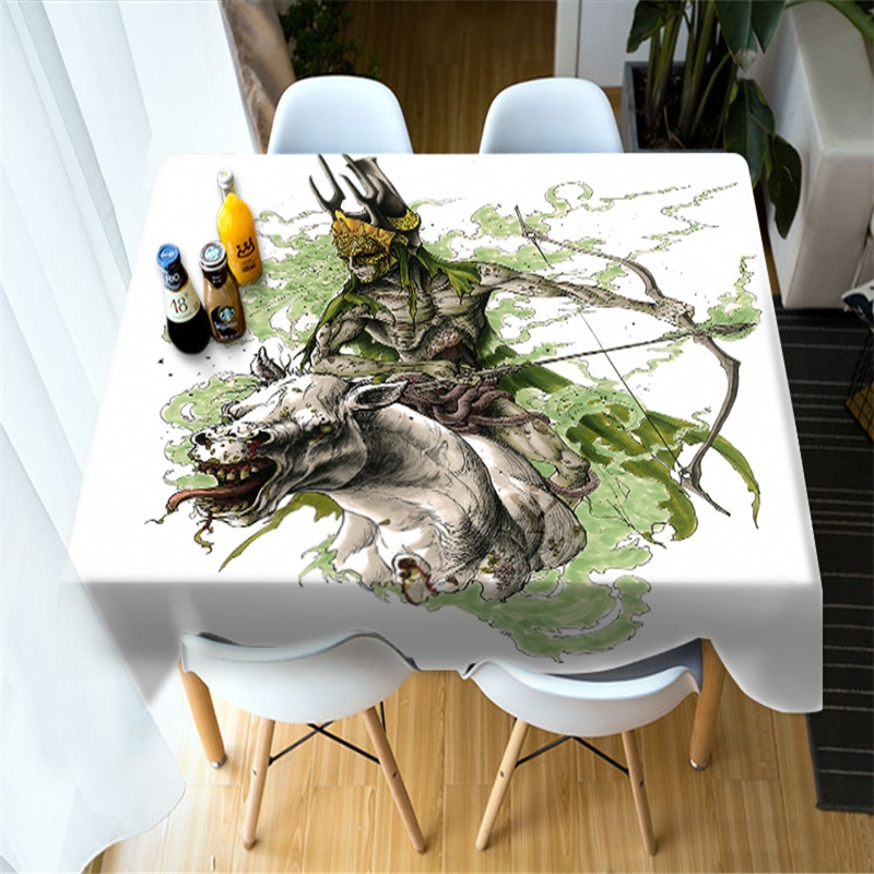 3D Monster and Skeleton Halloween Symbol Printing Polyester Table Cover Cloth