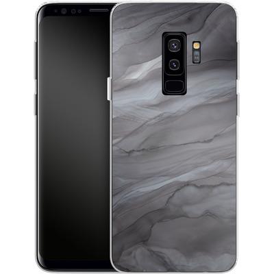 Samsung Galaxy S9 Plus Silikon Handyhuelle - Black Watercolour Marble von Becky Starsmore