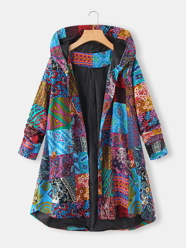 Ethnic Print High Low Hem Plus Size Hooded Coat with Pockets