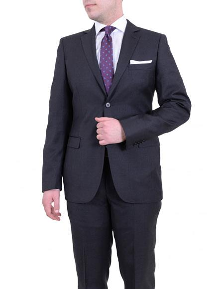 Mens Gray Single Breasted 2 Buttons Slim Fit Wool Notch Lapel Suit