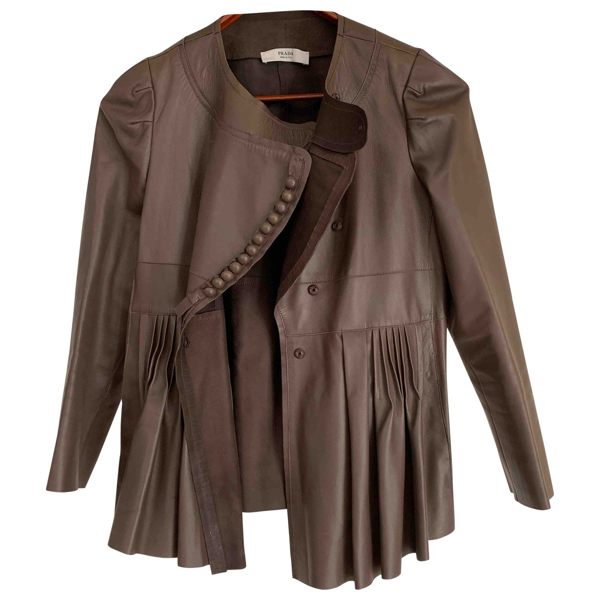 Prada \N Brown Leather Leather jacket for Women 42 FR