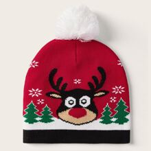 Pom Pom Decor Christmas Elk Beanie