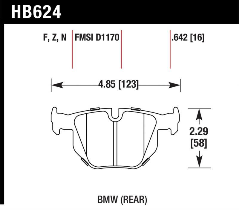 Hawk Performance HB624N.642 Disc Brake Pad BMW Rear