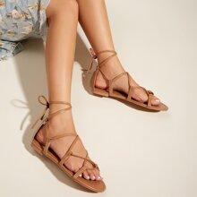 Cross Strap Tie Leg Sandals