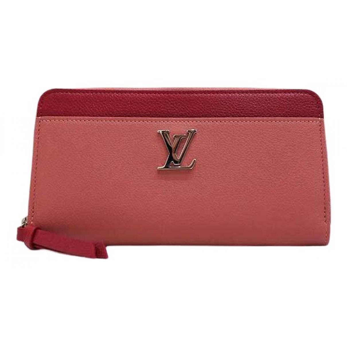 Louis Vuitton - Portefeuille Lockme pour femme en cuir - rose