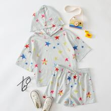 T-Shirt mit Stern Muster und Kapuze & Shorts Set