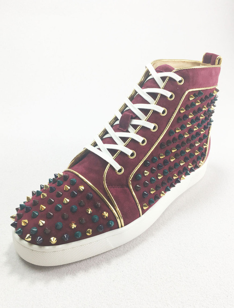 Milanoo Mens Sneakers 2020 Burgundy Round Toe Leather Lace Up Rivets High Top Spike Skate Shoes