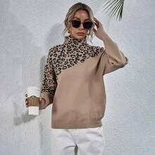 Jersey con patron de leopardo de hombros caidos