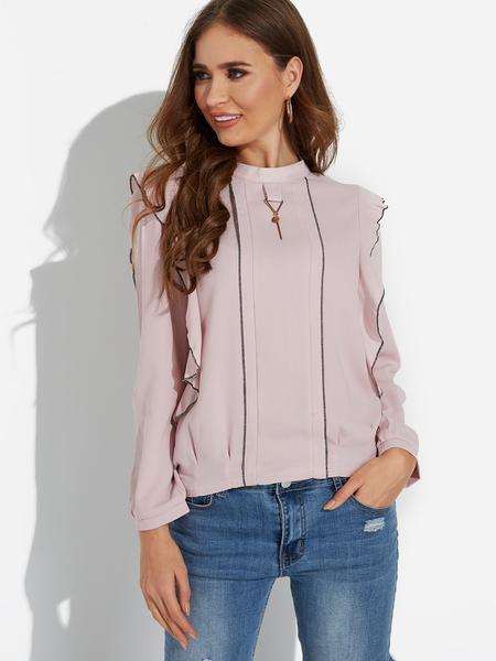 Yoins Pink Round Neck Ruched Chiffon Shirt