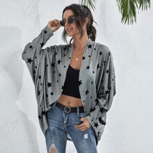 Allover Star Print Batwing Sleeve Coat