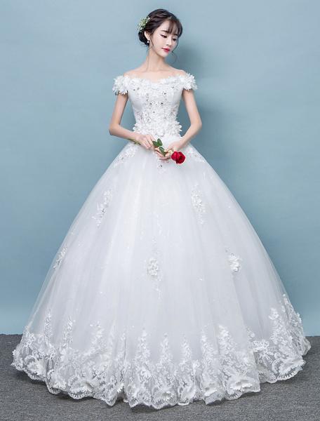 Milanoo Vestidos de novia de marfil del vestido de novia del vestido de bola de la longitud del piso del cordon del hombro
