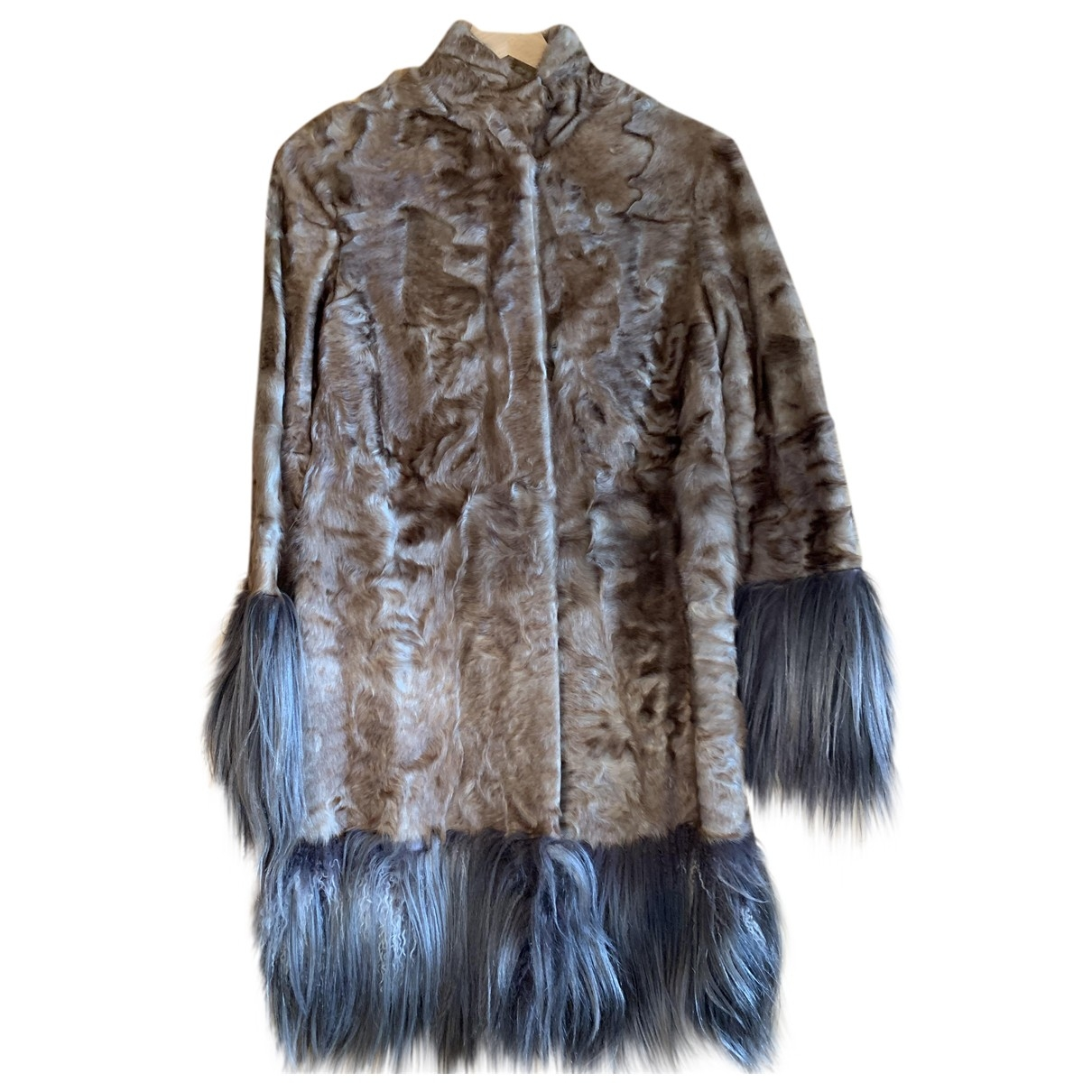 Vicedomini - Manteau   pour femme en astrakan - beige