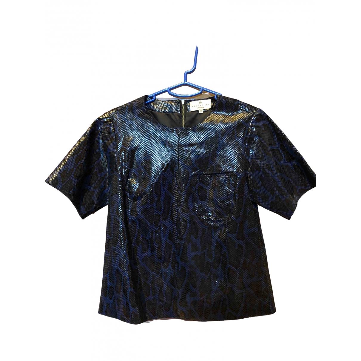 Essentiel Antwerp - Top   pour femme en cuir - bleu