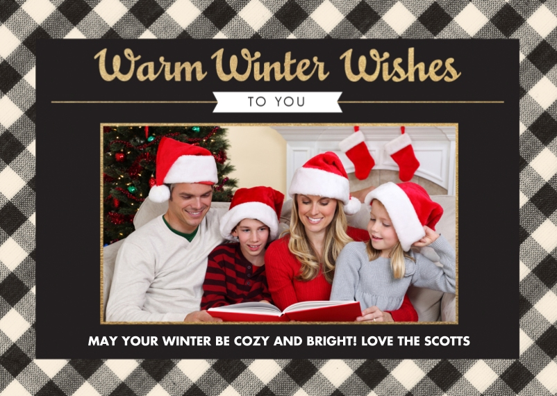 Holiday 5x7 Folded Cards, Standard Cardstock 85lb, Card & Stationery -A Winters Plaid