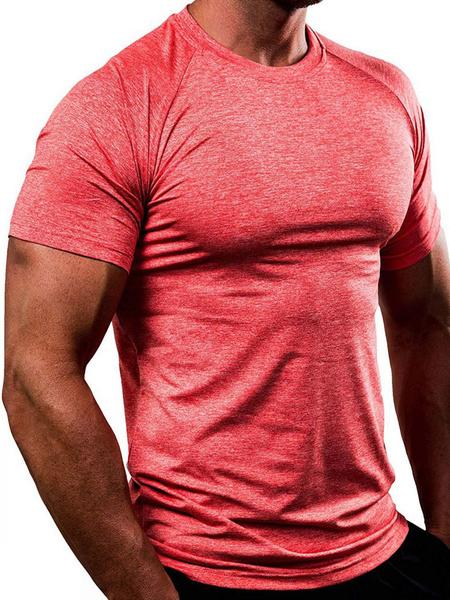 Milanoo Camisetas Cuello joya Manga corta Hombre Camiseta