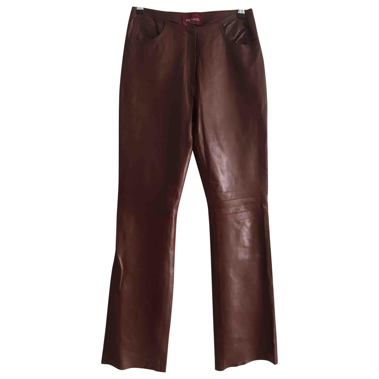 Non Signé / Unsigned \N Brown Leather Trousers for Women 40 FR