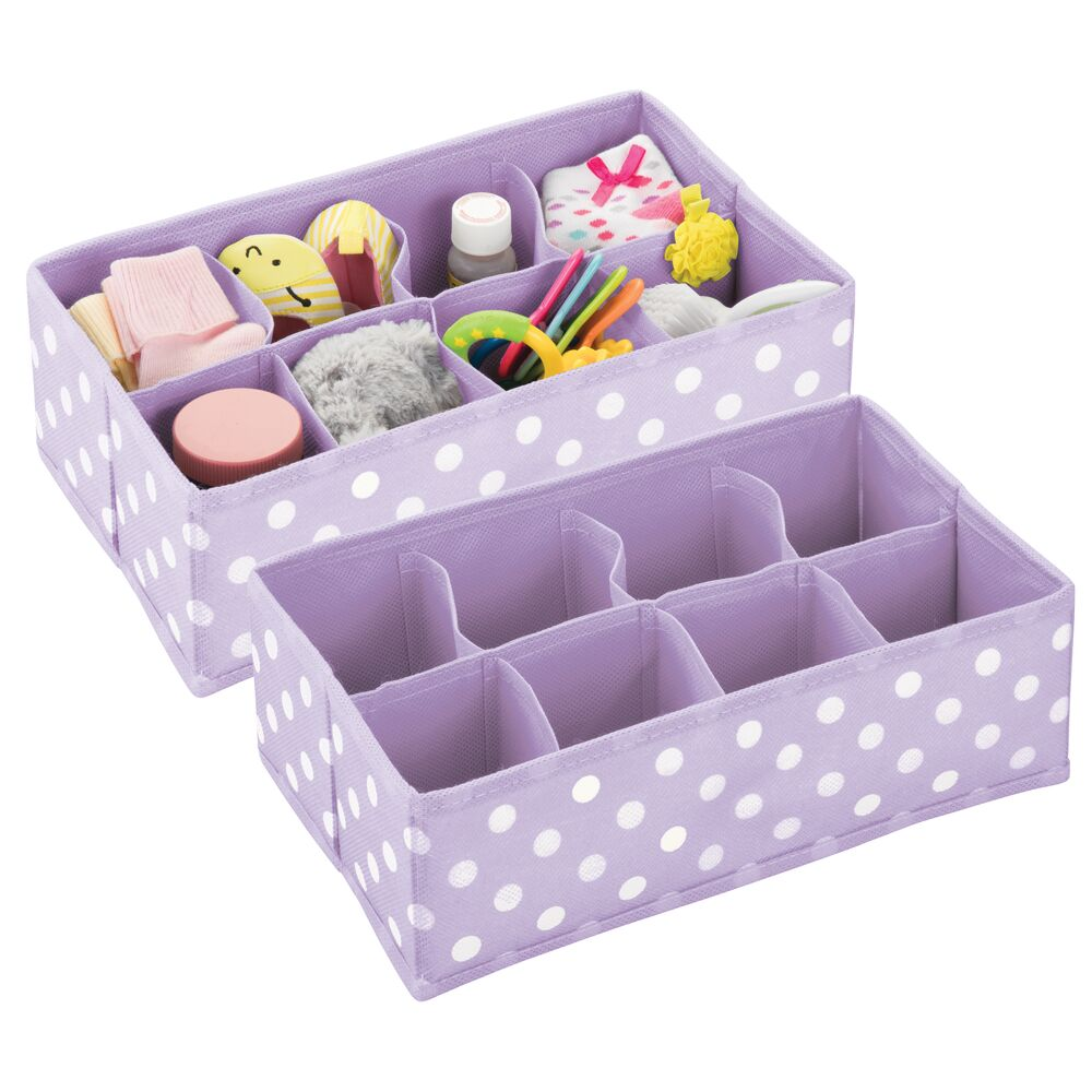8 Section Kids Fabric Drawer Organizer in Light Purple/White, Set of 2, by mDesign