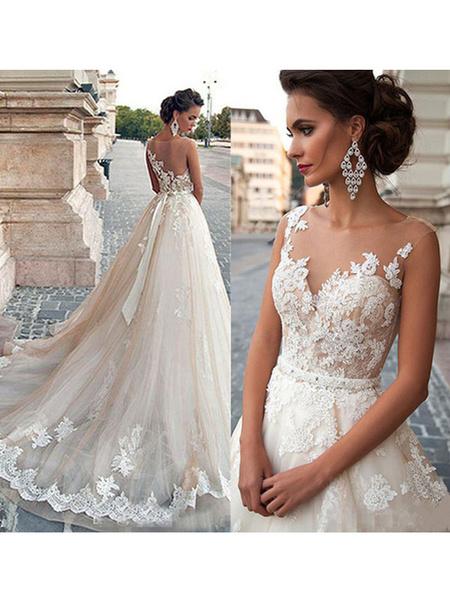 Milanoo Vestidos de novia 2020 Jewel Illusion Neck sin mangas Linea A Lace Flora Applique Vestidos de novia con cola larga
