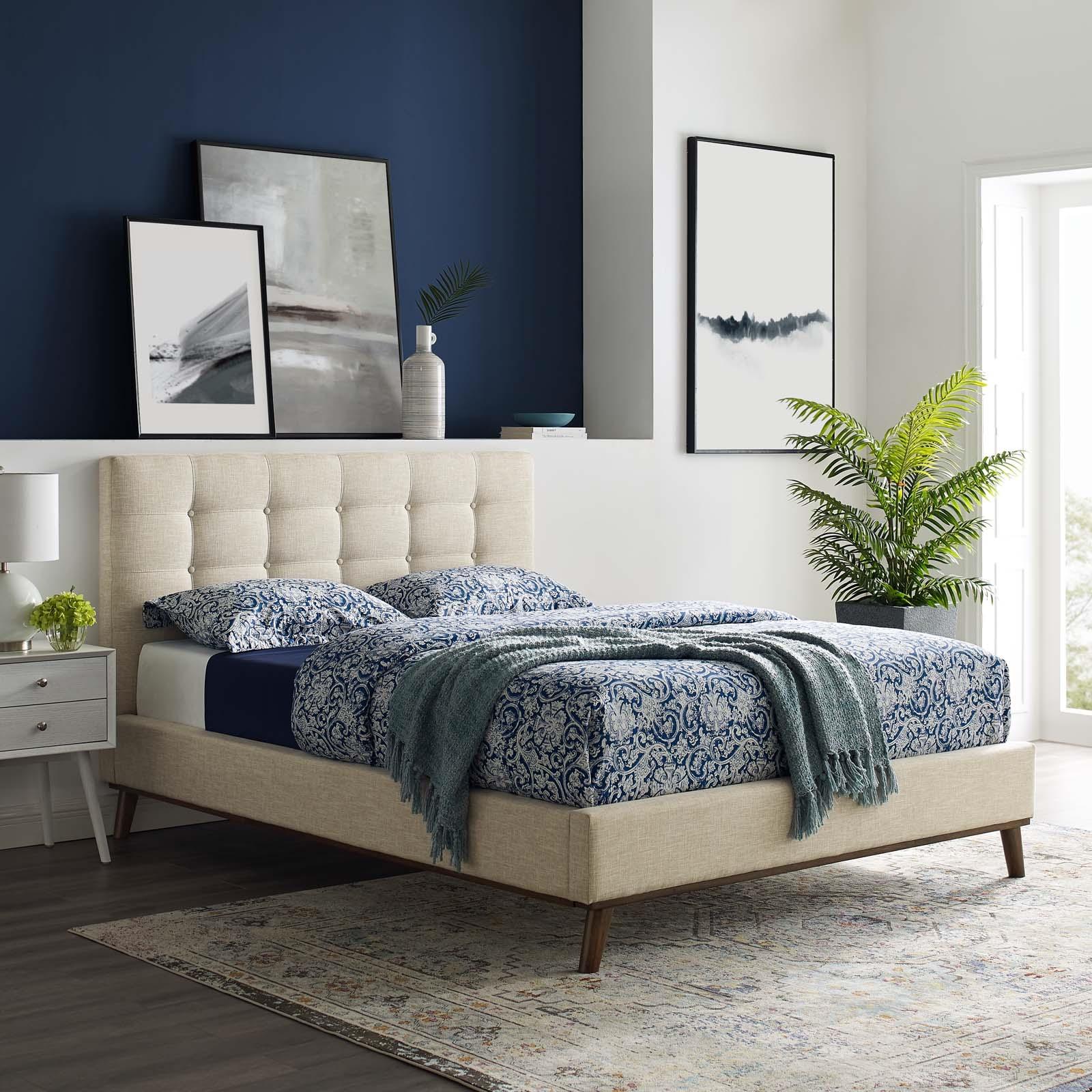 McKenzie Queen Biscuit Tufted Upholstered Fabric Platform Bed in Beige