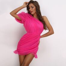 Neon Pink One Shoulder Ruched Mesh Dress