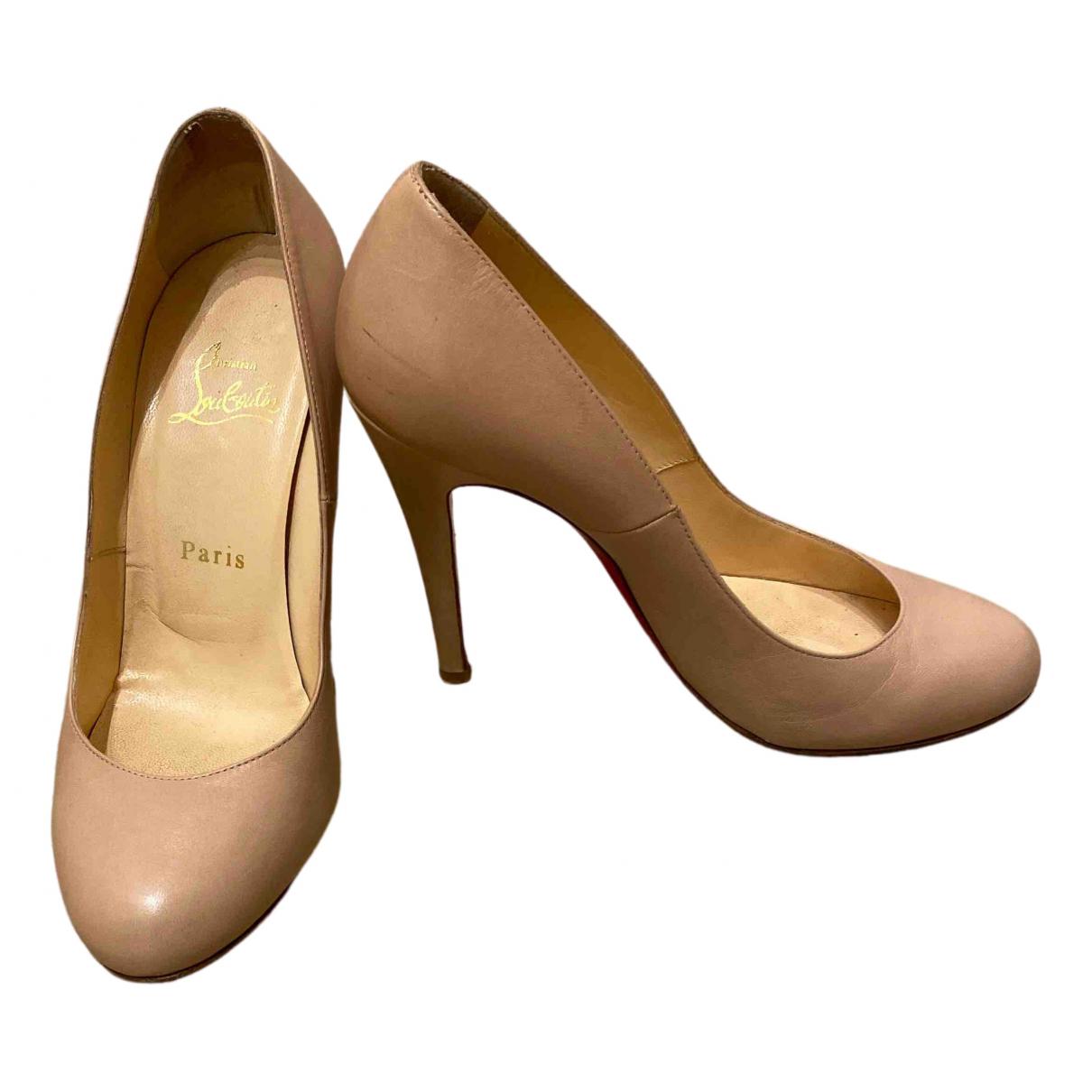Christian Louboutin N Beige Leather Heels for Women 38 EU