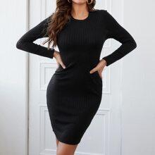 Rippenstrick Pullover Kleid