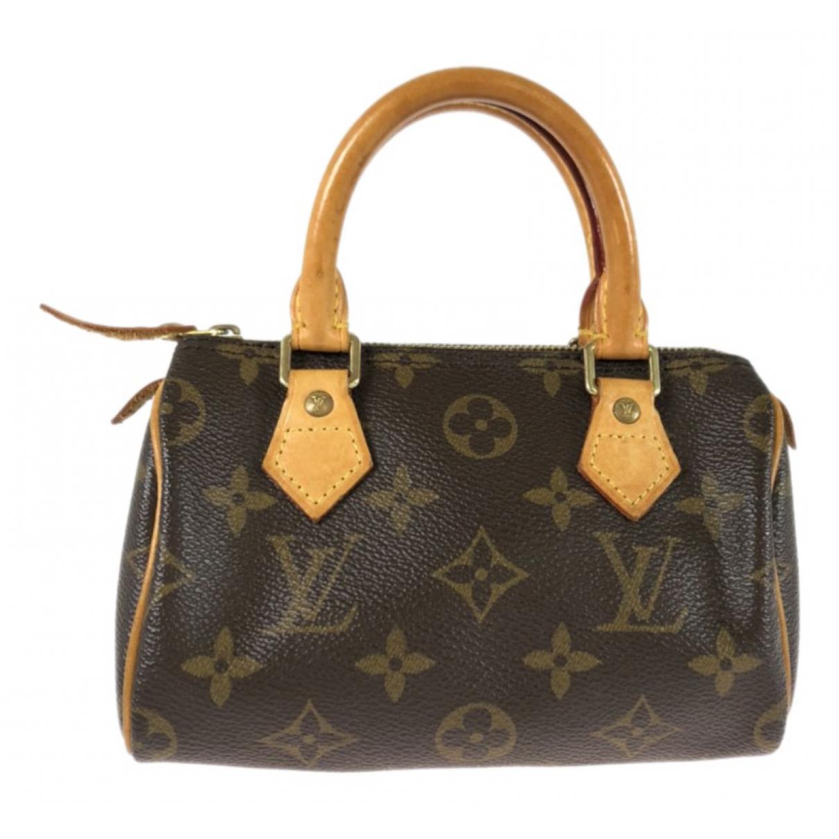 Louis Vuitton Nano Speedy / Mini HL Handtasche in  Braun Leinen