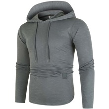 Men Curved Hem Drawstring Hooded Sweatshirt
