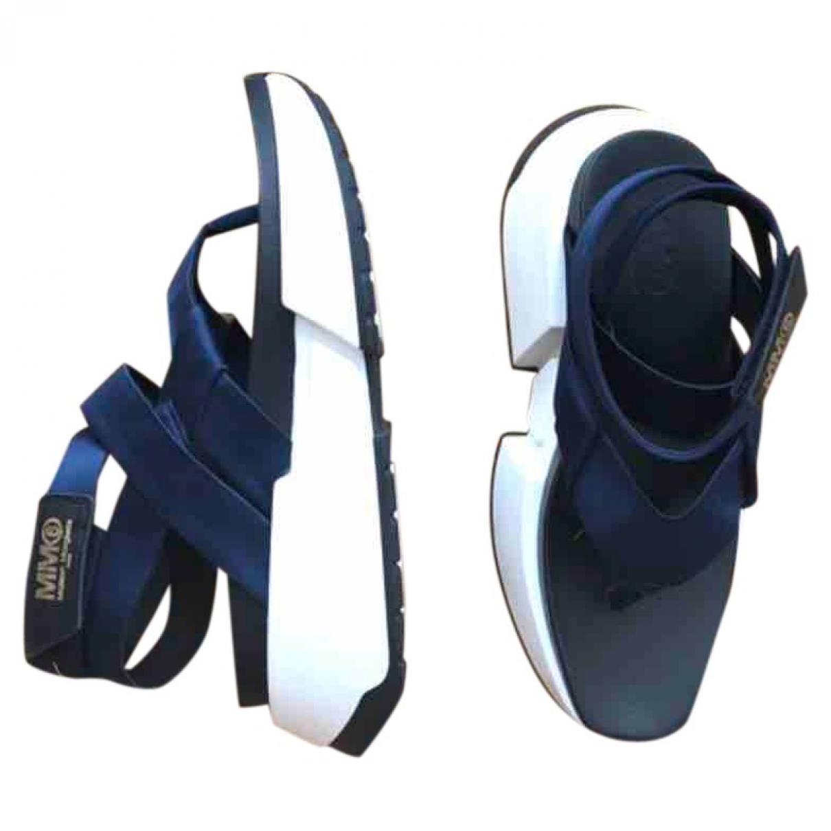 Mm6 \N Sandalen in  Blau Leder