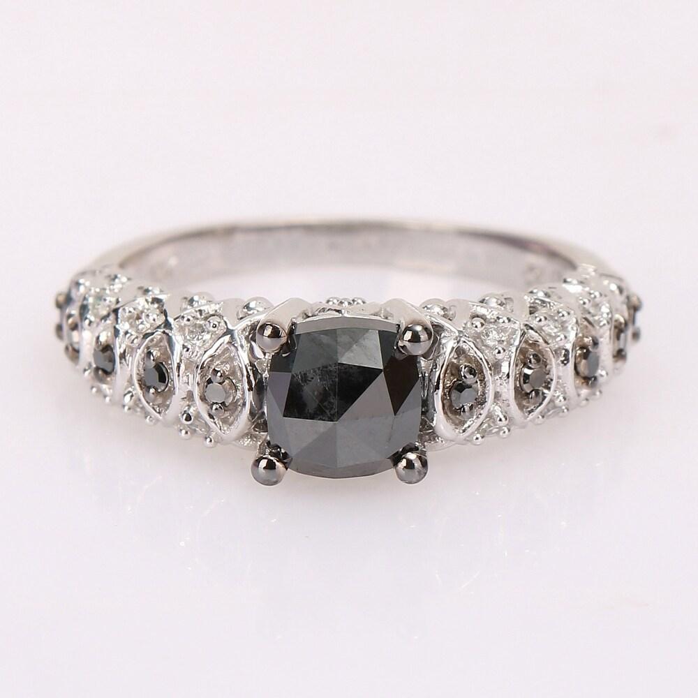 Miadora 10k White Gold with Black Rhodium 1 1/6ct TDW Black & White Diamond Vintage Engagement Ring (8)