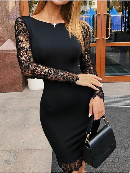 YOINS Black Lace Patchwork Round Neck Long Sleeves Dress