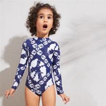 Kleinkind Maedchen einteilige Badekleidung mit Geo Muster und langen Ärmeln
