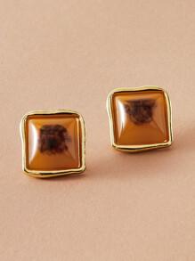 1pair Color Block Geometric Stud Earrings