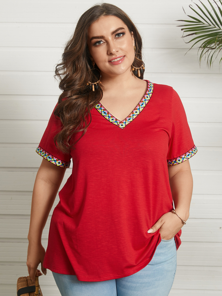 YOINS Plus Size V-neck Patchwork Short Sleeves Tee